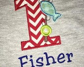 Birthday Boy Outfit - Monogrammed/Personalized First Birthday Fishing Appliqued Grey T-shirt, Size 12 Month - 24 Month