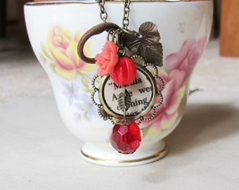 Anne of Green Gables Charm Necklace Anne Shirley Fire Red Beaded Skeleton Key. Vintage Upcycled Brass Literature. Flower Two Cheeky Monkeys