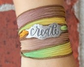 Inspirational Jewelry, Create Braelet,  Silk Wrap Bracelet, Handmade Silver Jewelry, Unique Jewelry for Her, Gift for Creative