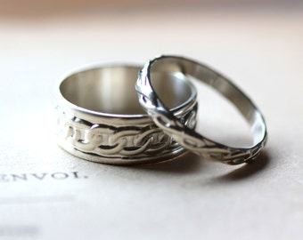 Wedding Band Set, Bride and Groom, Wedding Band Set in Sterling Silver, Wedding Rings His and Hers, Mens Womens, Unisex