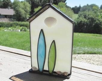 Stained Glass Sun Catcher, Surf Shack Art, Surf Hut Art, Ocean Art, Beach Hut, Sea Shells, Surfboard, Sun Catcher, Ornament, Suncatcher