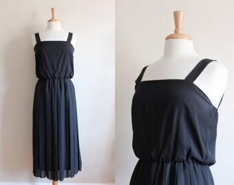 1970s Dress / Vintage Black Chiffon Blouson Midi Dress