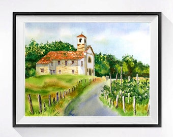 Vineyard Landscape Wine country Italian Landscape Watercolor print French church Europeun Italy romantic Art Mediterranean vineyard N