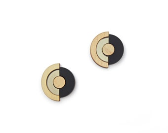 Concentric Circle Earrings - Bronze