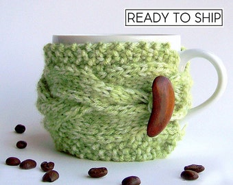 Rustic Spring Decor, Tea Cozy, Cup Warmer, Coffee Cozy, Knit Coffee Cozy, Coffee Mug Cozy, Cup Sleeve, Gifts Under 20