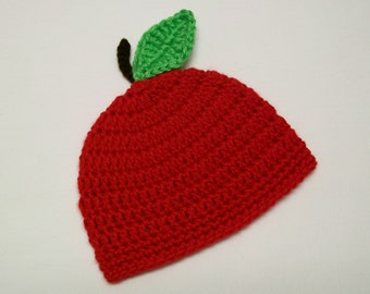 Red Apple Baby Hat Fruit Beanie Crochet with Leaf and Stem Newborn 3 6 9 12 18 24 month sizes Photo Prop New Baby Gift