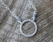 Rough Diamond Necklace Sterling Silver April Birthstone Silver Grey Eternity Necklace Petite Modern