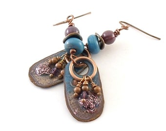 Blue and Purple Enamel Earrings - Tribal Earrings - Artisan Earrings -Industrial Earrings - Boho Earrings -Copper Earrings -Antique Copper