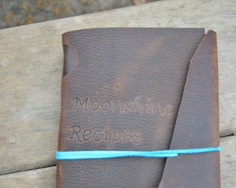 Handmade Leather Moonshine Maker's Journal with FREE Personalization