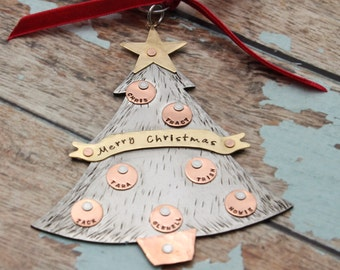 Christmas Tree Ornament Hand Stamped and Personalized Aluminum, Copper and Brass