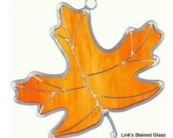 Stained Glass Amber Maple Leaf, Sun catcher