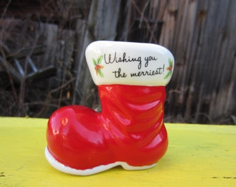 Vintage 1979 Christmas Santa Boot Planter Wishing You The Merriest Enesco Holiday Decoration