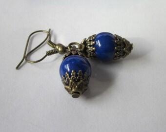 Lapis Lazuli Earrings, Lapis Dangle Earrings, Blue Stone Earrings, Lapis Earrings, Small Blue Gemstone Earrings, Lapis Lazuli Earrings