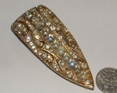 deco-1920s dress clip- good pot metal - gorgeous long tappered style- rhinestones -- still works well