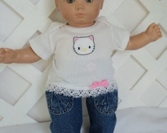 Doll Clothes,  Bitty Baby Girl   3 pc  Denim My Kitty outfit  with headband and Leggings