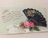 "Black lace fan and Pink Roses Victorian New Years Card 1880's   5 1/4"" x 3"" from old scrapbook"