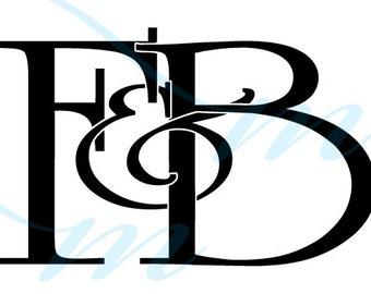 Intertwining Ampersand Monogram - F&B (instant download - JPG, PSD, PDF)