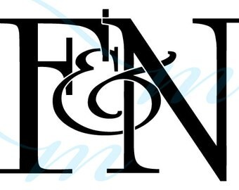 Intertwining Ampersand Monogram - F&N (instant download - JPG, PSD, PDF)