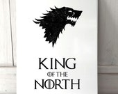 King of the North Game of Thrones inspired sign A4 metal plaque decor