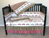 Vintage Trucks Four Piece Crib Set OOAK Crib Skirt Bumpers Quilt Sheet Last One Americana Pickups
