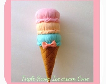 Felt food Triple scoop ice cream cone (A)