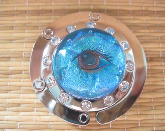 Dichroic Glass Eye Folding Handbag Purse Bag Hanger Hook Holder Foldable Rhinestones