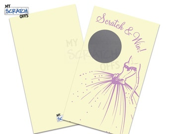 Bridal Shower Scratch Off Game Cream with Purple dress Scratch and Win - Scratch Off Game Card