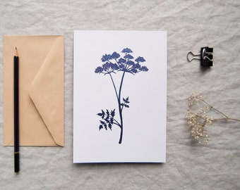 Cow Parsley botanical print in metallic purple foil leaf botany shiny limited edition 'Botanique Electrique' collection