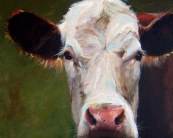 Cow Painting - Frances  - CANVAS Giclee Print of an Original Painting by Cari Humphry 18x18