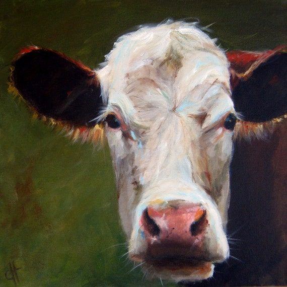 Cow painting frances canvas giclee print of an original for Cow painting print
