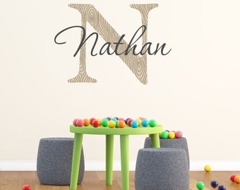 Custom Personalized Name And Woodgrain Initial Vinyl Wall Decal Sticker F19