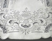 Exquisite hand embroidery - table placemat, linen with cotton thread, natural color