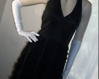 Flapper Style Vintage Black Silk Chiffon Shreds Goth Halter Dress Size M/L Stunning Unique Look at the Skirt Shreds