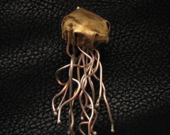 A Metal Jellyfish, steam punk art, pendant, nautical pendant, ocean animal, steampunk fun, jellyfish pendant, sea creature