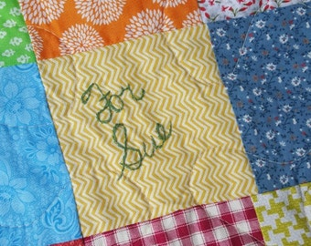Quilt, Patchwork Quilt, Personalize your Patchwork Quilt  hand embroidery