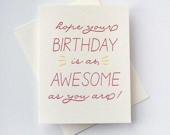 Letterpress Birthday Card - Birthday Awesome