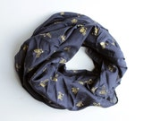 Silk/Cotton Infinity Scarf - Gold & Navy Bees