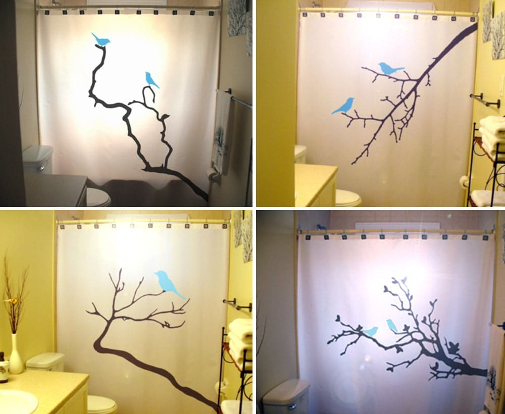 Blue birds shower curtains tree branch bathroom decor kids
