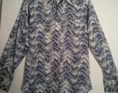 SALE 70s men's chevron print dress shirt small medium PutOn grunge tiki lounge cocktail seventies 38 boho