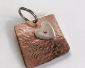 Personalised copper anniversary keyring tag with Argentium sterling silver heart, customised tag plus ring. Perth, Western Australia