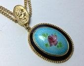 Vintage Enamel Nouveau Style Pendant Chain Necklace