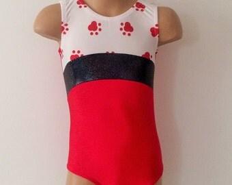 Gymnastics Dance Leotard Red/Paw Print  Size 2T - GIRLS 12