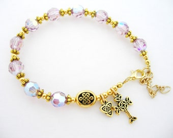 June Birth Month Light AMETHYST SWAROVSKI Crystal Single Decade Gold Celtic Knot Irish Rosary Bracelet