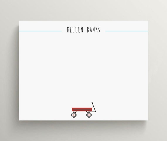 red wagon note card set  //  thank you note set // stationery // radio flyer // kids stationery // wagon // baby shower // birthday