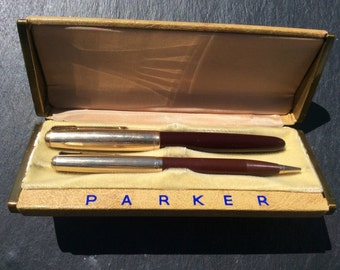 Parker 51 - 12k gold filled fountain pen and mechanical pencil in original box 1950s