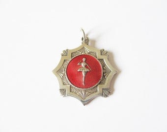 Ballet dance medal: Lovely kitsch early 1960s silver plated and red enamel ballet dancing medal, ballet medal, dancing medal, ballroom medal