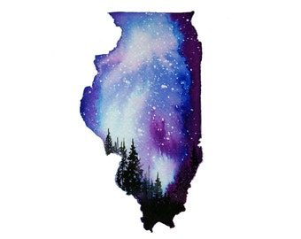 Starry Night in Illinois, print from original watercolor painting by Jessica Durrant