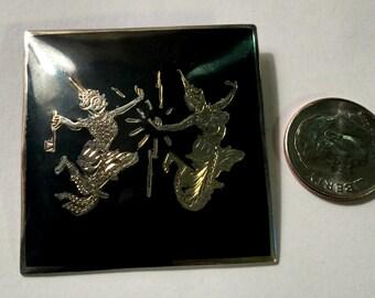 Vintage Antique Sterling Silver Niello Made in Siam Dancing Ladies Brooch
