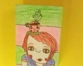 coffee, top hat girl, original art,fun,sweet,whimsical,weird,latte,pink,green,cute,plaque
