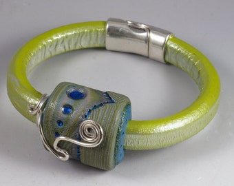 Blue Lime Green and Silver Licorice Leather Bracelet -Wire Wrapped No. 171